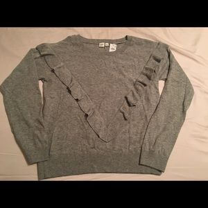 Gap Grey Sweater with Ruffle Accents